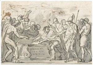 Jacques Louis David - Sketch Of A Triumphal Procession, And A Study For The Figure Of Alexander