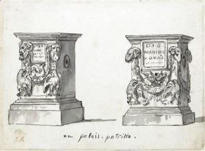 Jacques Louis David - Two Roman Altars With The Epitaphs D.I.S Manibus