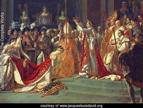 Anointing of Napoleon I and Coronation of the Empress Josephine. Napoleon stands behind Pope Pius VII