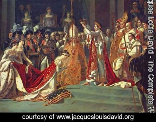 Jacques Louis David - Anointing of Napoleon I and Coronation of the Empress Josephine. Napoleon stands behind Pope Pius VII
