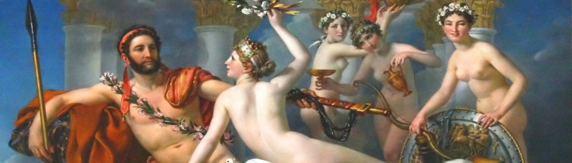 Jacques Louis David - Mars Disarmed by Venus and the Three Graces 1824