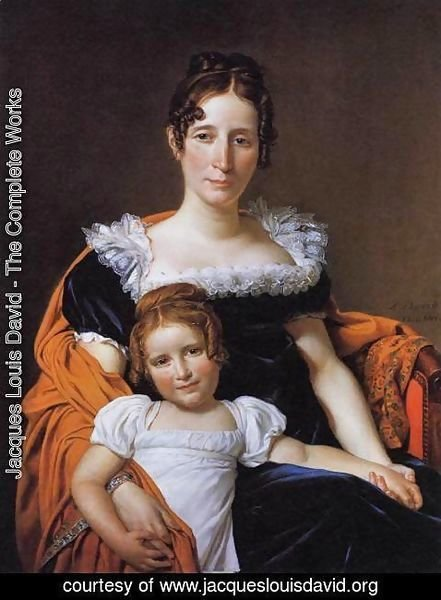 Jacques Louis David - Portrait of the Comtesse Vilain XIIII and her Daughter 1816