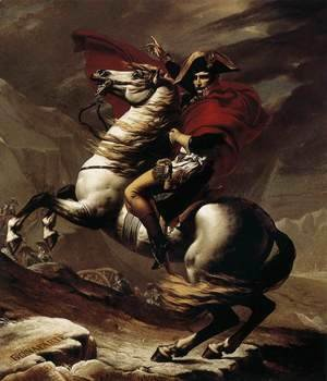 Jacques Louis David - Bonaparte, Calm on a Fiery Steed, Crossing the Alps 1801