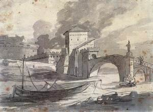Jacques Louis David - View of the Tiber and Castel St Angelo 1776-77